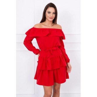Dress with frills red