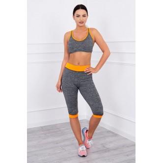 Sports set top + 3/4 leggings orange neon