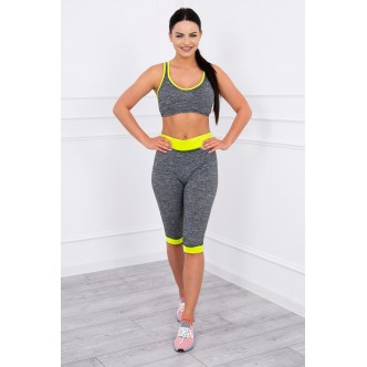 Sports set top + 3/4 leggings yellow neon