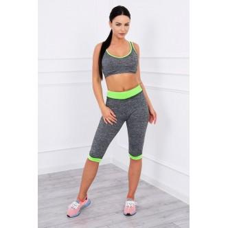 Sports set top + 3/4 leggings green neon