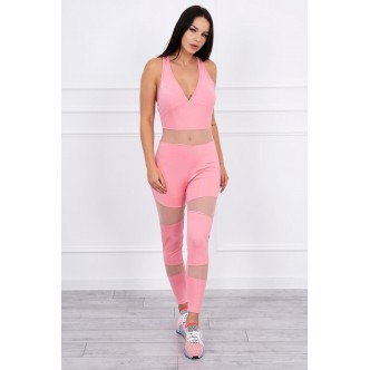 Sports suit with mesh powdered pink