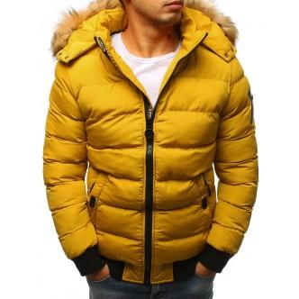 Pánska zimná bunda prešívaná žltá (tx2317)