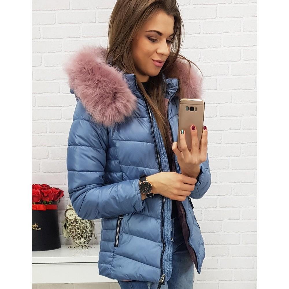 Dámska zimná bunda ABELLA prešívaná modrou kapucňou (ty0428)