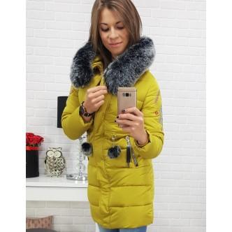 Kurtka damska FOLK  zimowa pikowana z kapturem żółta (ty0405)