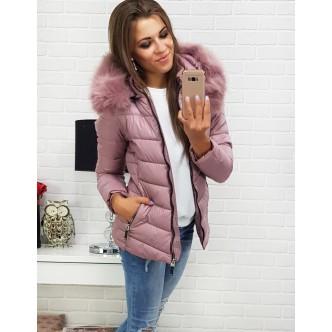 Dámska zimná bunda ABELLA prešívaná ružovou kapucňou (ty0298)