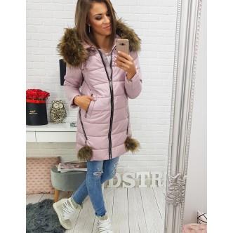 DULCE bunda dámská zimná prešívaná ružovou kapucňou (ty0275)