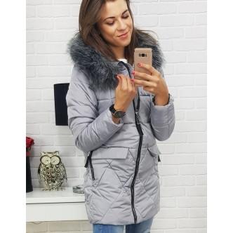 Dámska bunda MEXICO zimná prešívaná s kapucňou šedá (ty0364)