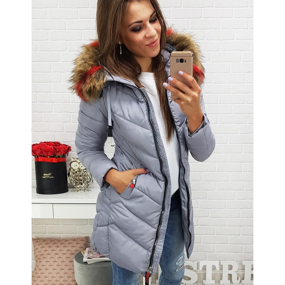 RAMIRA dámská zimná prešívaná bunda s šedou kapucňou (ty0284)