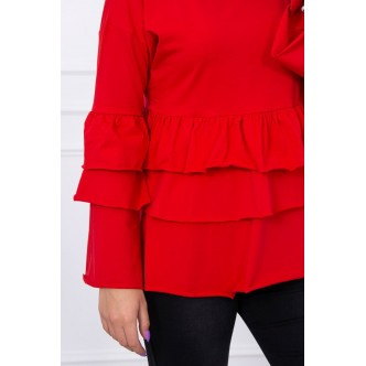 Blouse with flounces red