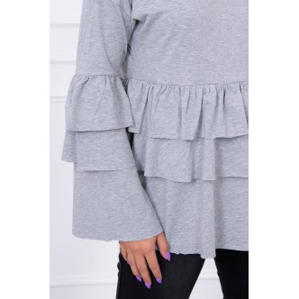 Blouse with flounces gray