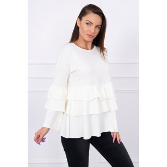 Blouse with flounces ecru