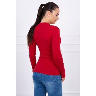 A blouse with pompon burgundy