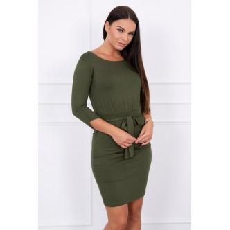 Dress with a roll-up sleeve khaki