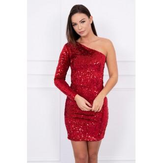 One shoulder dress red
