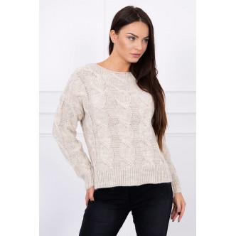 Sweater with longer back light beige
