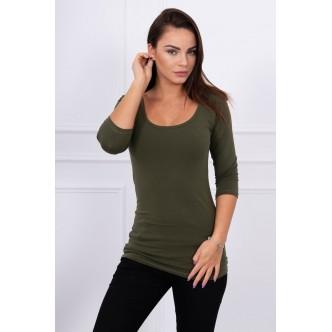 Round neckline blouse khaki