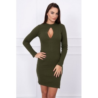 Dress with cut at the neckline khaki