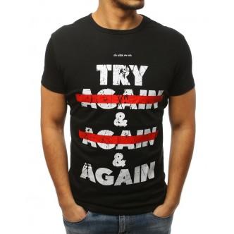T-shirt męski z nadrukiem czarny (rx3001)