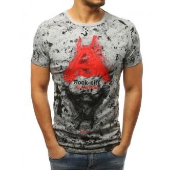T-shirt męski z nadrukiem jasnoszary (rx3029)