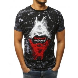 T-shirt męski z nadrukiem czarny (rx3030)