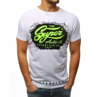 T-shirt męski z nadrukiem biały (rx3032)