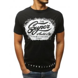 T-shirt męski z nadrukiem czarny (rx3033)
