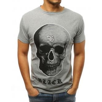 T-shirt męski z nadrukiem szary (rx3007)
