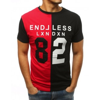 T-shirt męski z nadrukiem czerwono-czarny (rx3039)