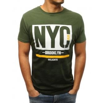 T-shirt męski z nadrukiem zielony (rx3023)