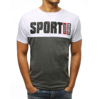 T-shirt męski z nadrukiem biały (rx3034)