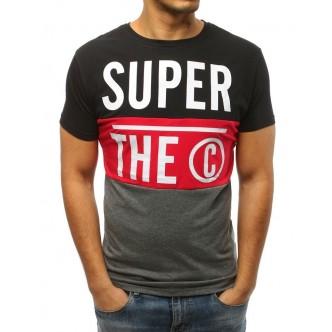 T-shirt męski z nadrukiem czarny (rx3047)