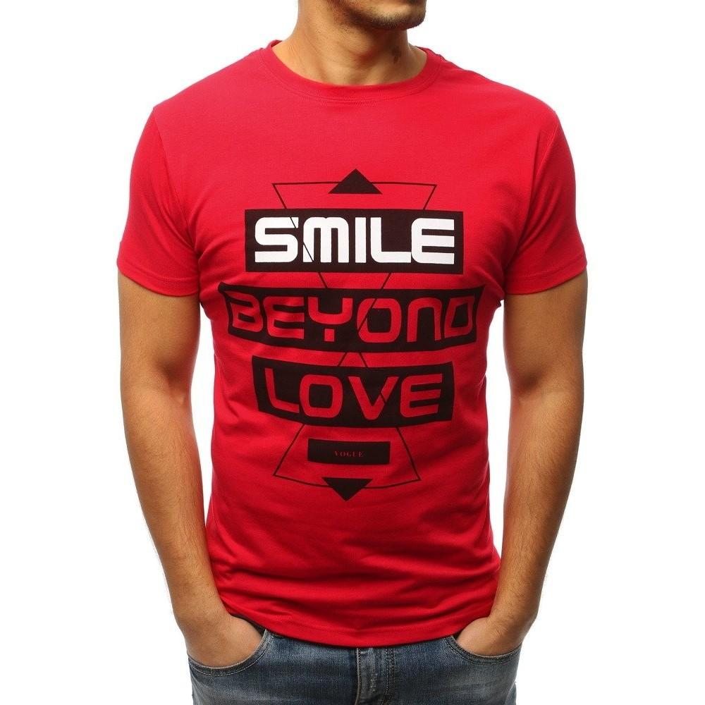 4f1c38206bcb T-shirt męski z nadrukiem czerwony (rx3059)