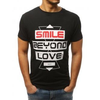 T-shirt męski z nadrukiem czarny (rx3060)