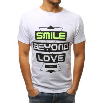 T-shirt męski z nadrukiem biały (rx3061)